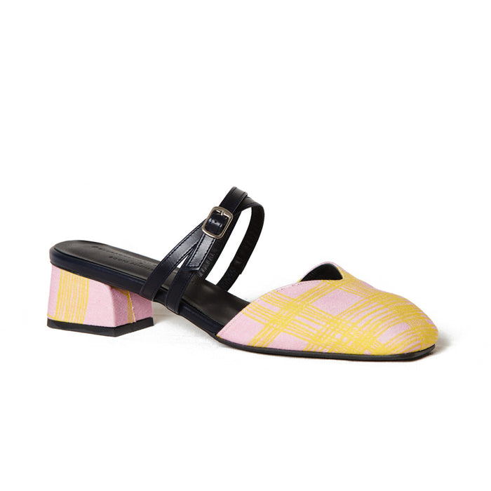 RESORT18 PRE-ORDER | JOSEPHINE Flat Mules - Printed Silk with Leather Straps