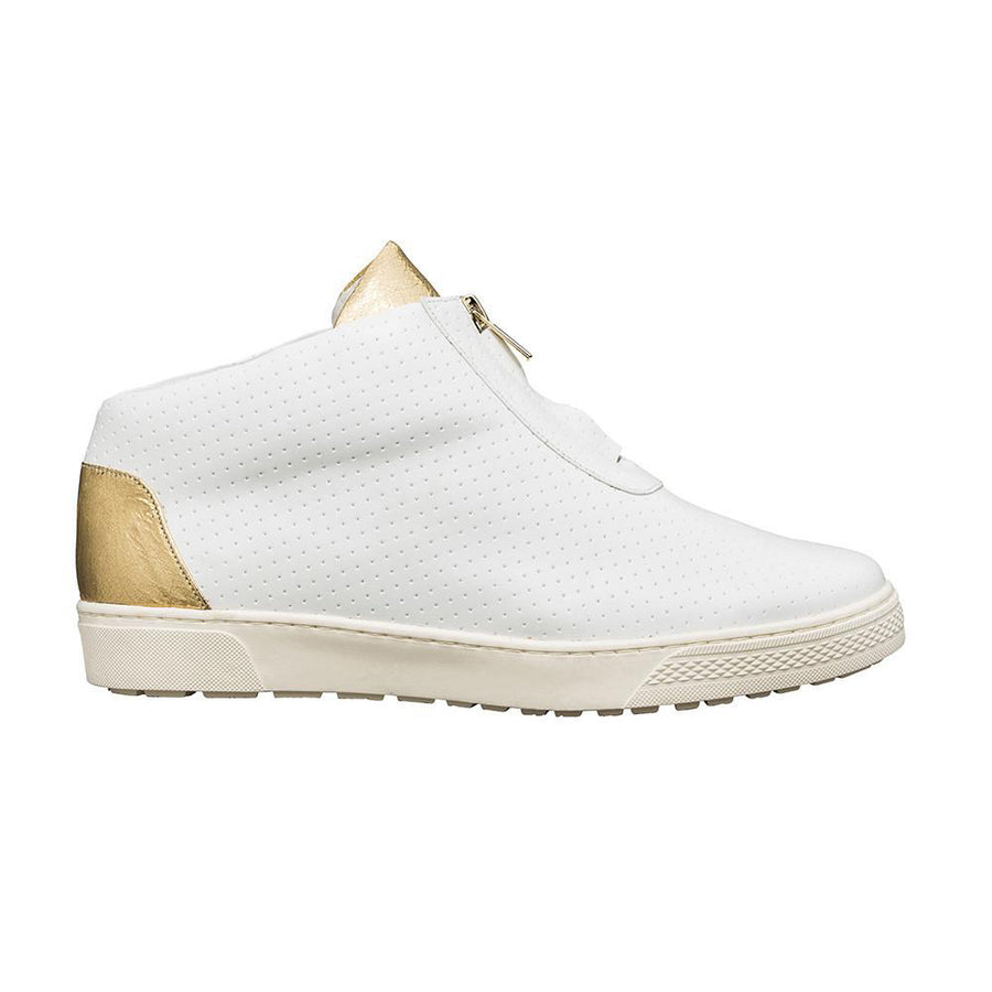 Women's Designer High Top Sneakers - Kush White and Gold Sneakers - Side