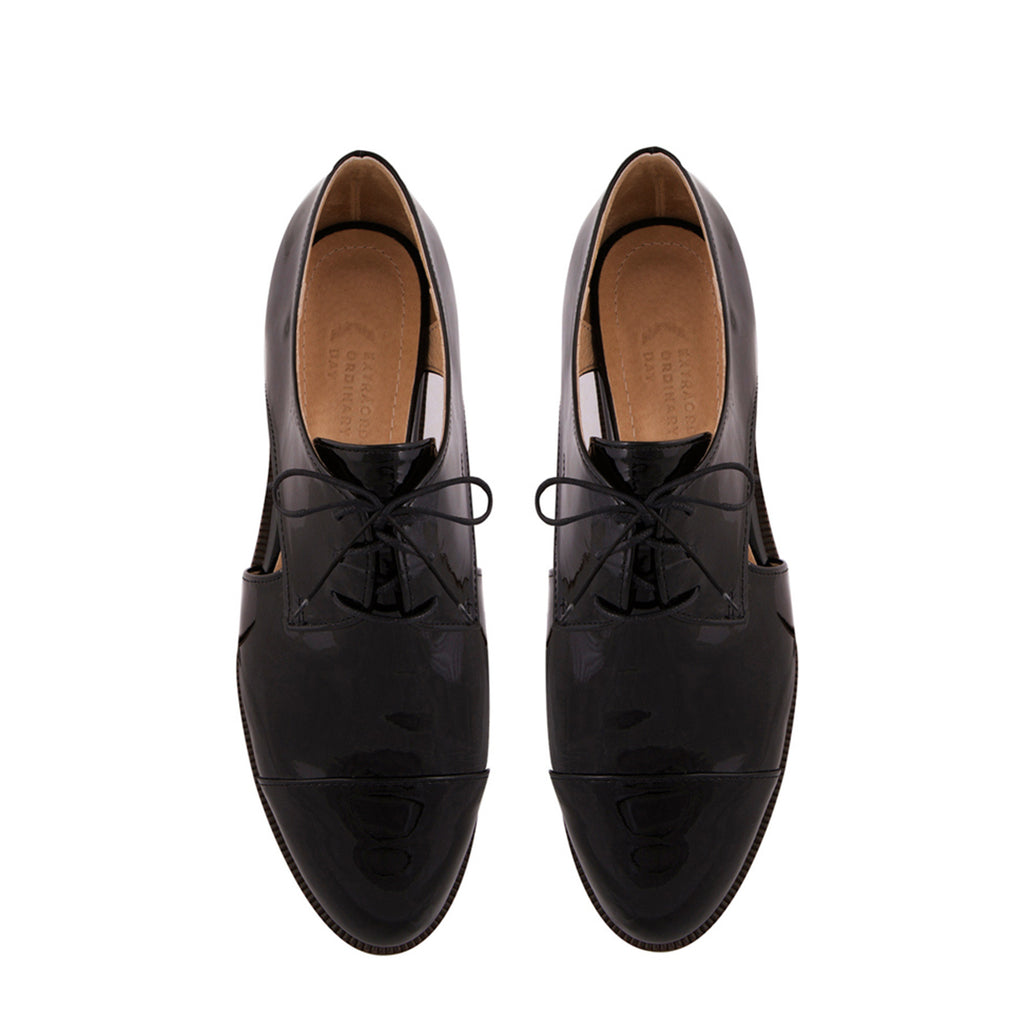 Women's Designer Leather Cut Out Brogues - Extraordinary Ordinary Day (EOD) Ladies Footwear - Lovelace Black Brogues Online