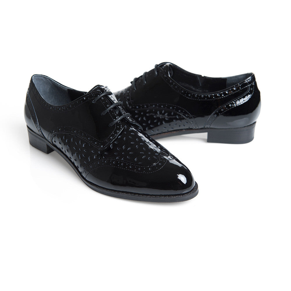 Women's Designer Brogues -Monae Black Brogues - Back and Front