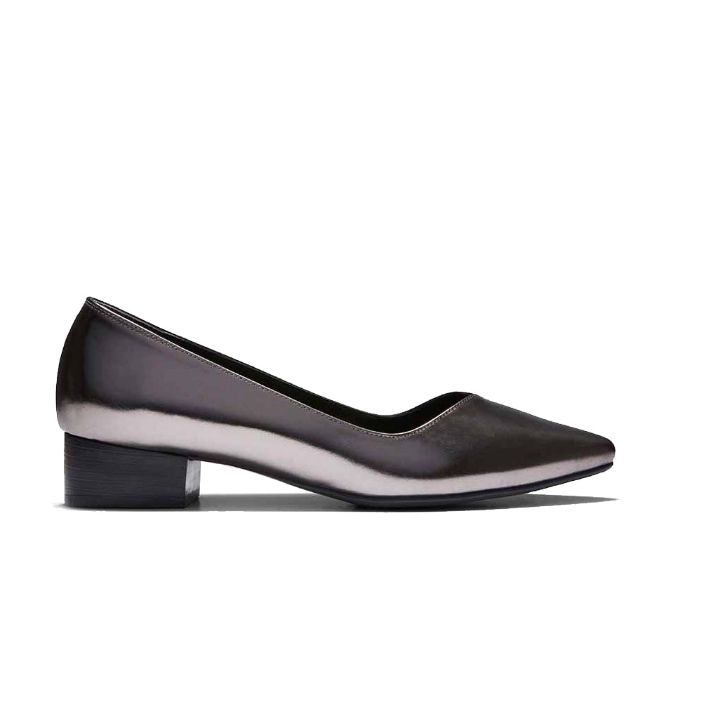Women's Designer Flat Shoes - Palmyra Embossed Metallic Platinum Flats - Side
