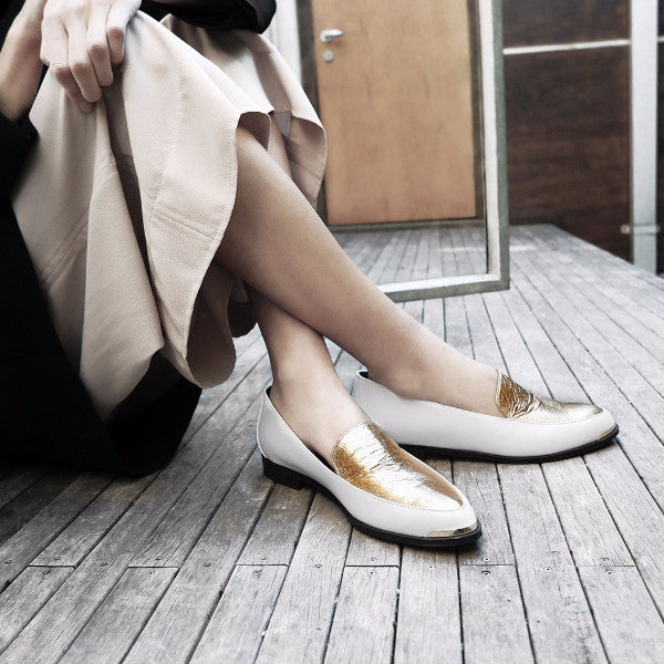 Women's Designer Paneled Leather Loafers -PERSIA Paneled Leather Loafers in White and Gold - Campaign