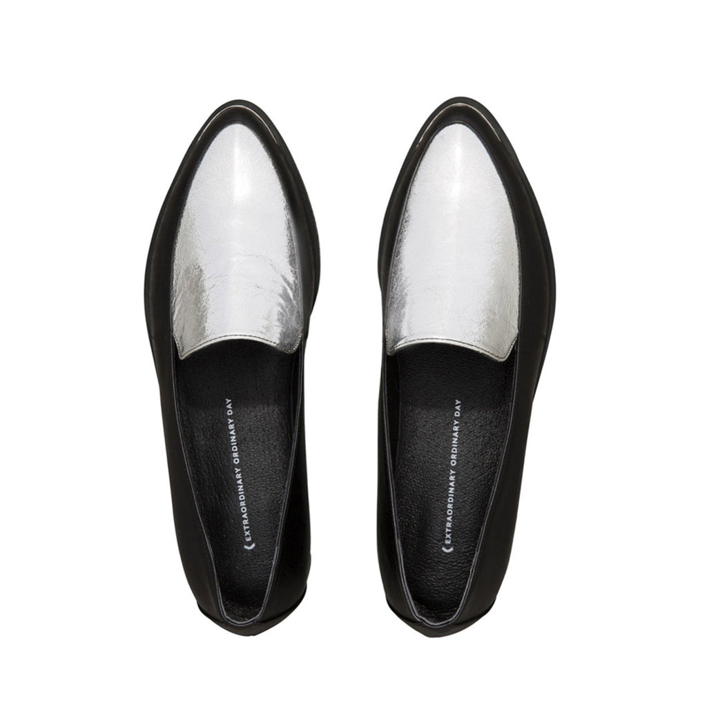 Women's Designer Loafers - Persia Black and Sliver Paneled Loafers - Flatlay