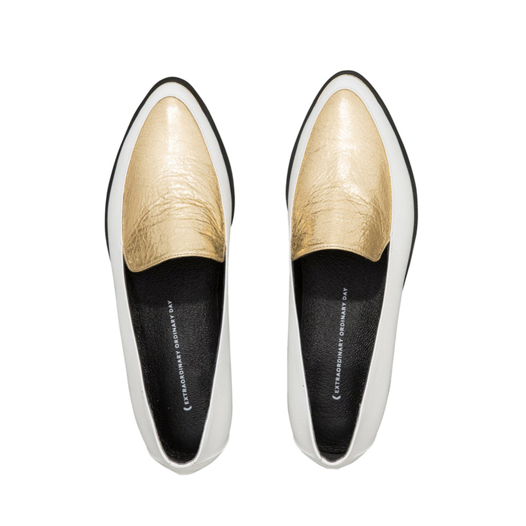 Women's Designer Paneled Leather Loafers -PERSIA Paneled Leather Loafers in White and Gold - Flatlay