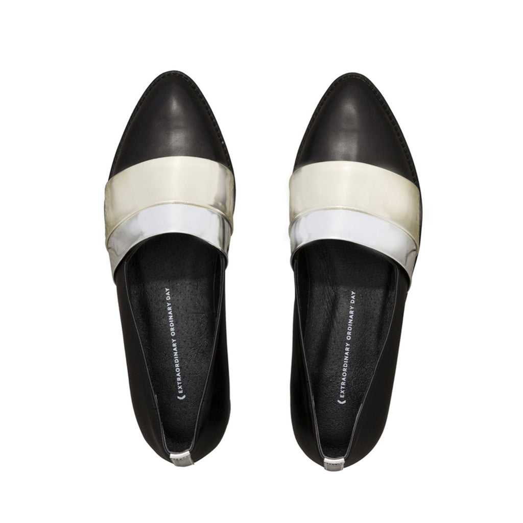 Made to Order | RUMI Leather Loafers with Metallic Bands - Black - Extraordinary Ordinary Day