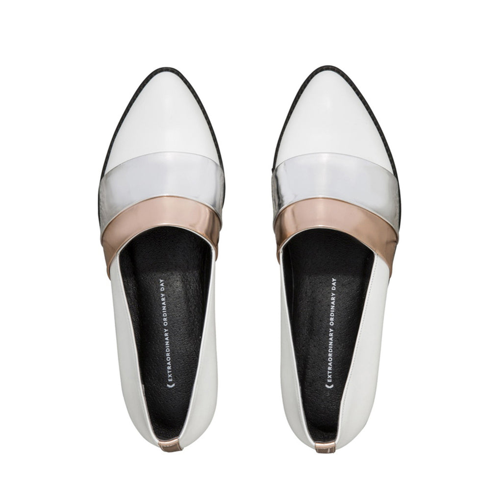 Women's Designer Leather Flat Loafers - Rumi Metallic White Loafers - Flatlay