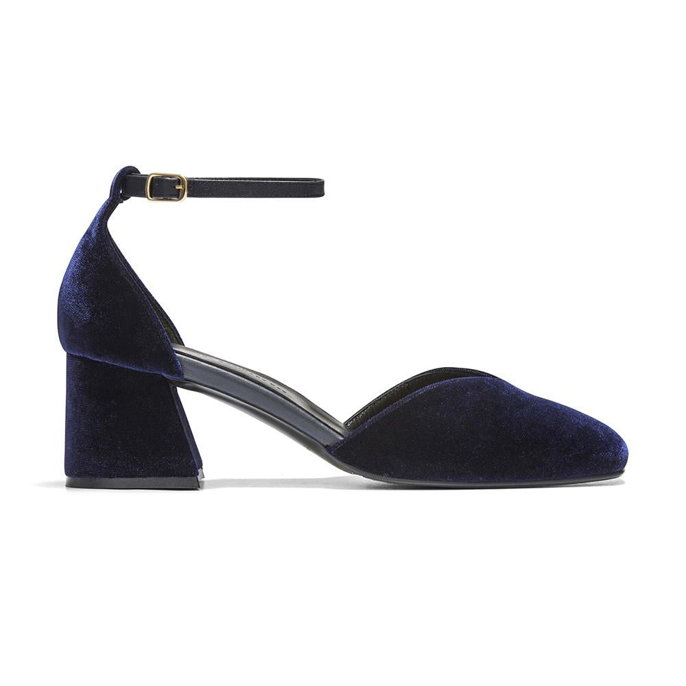 Women's Designer Mary Jane Shoes -Scarlett Navy Velvet Mary Jane Heels - Side