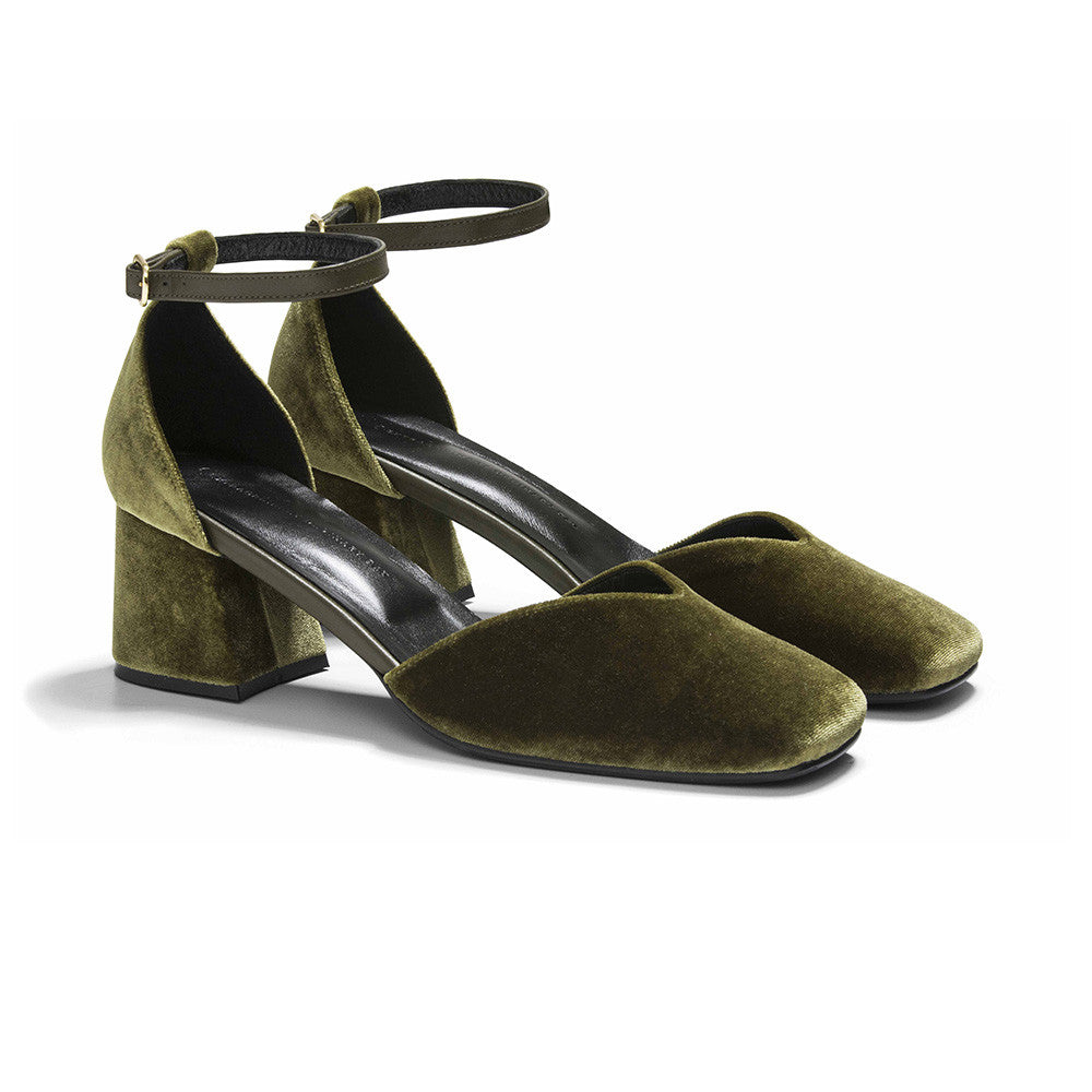 Women's Designer Mary Jane Shoes -Scarlett Olive Velvet Mary Jane Heels - Prospective
