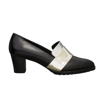SHEBA Block Heel Leather Pumps - Black with Metallic Band Straps - Extraordinary Ordinary Day