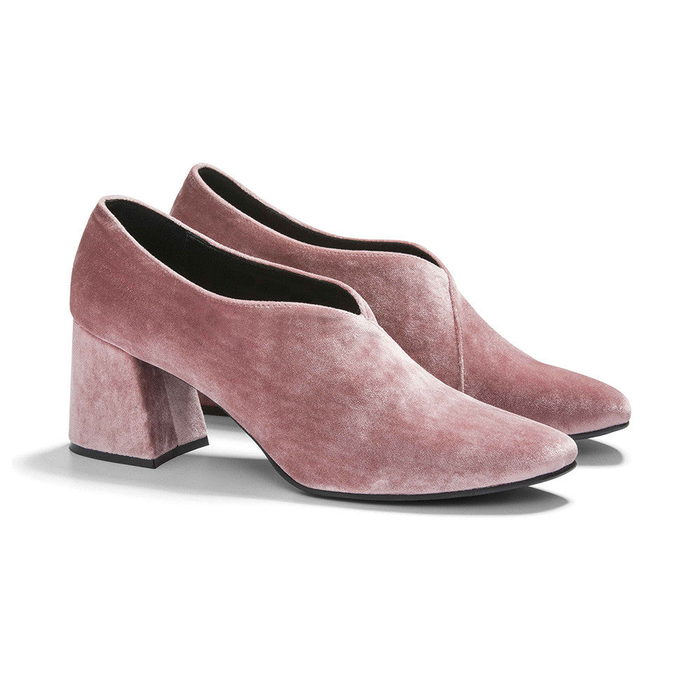 Women's Designer Pump Heel Shoes - Tara Pink Velvet Pumps - Prospective