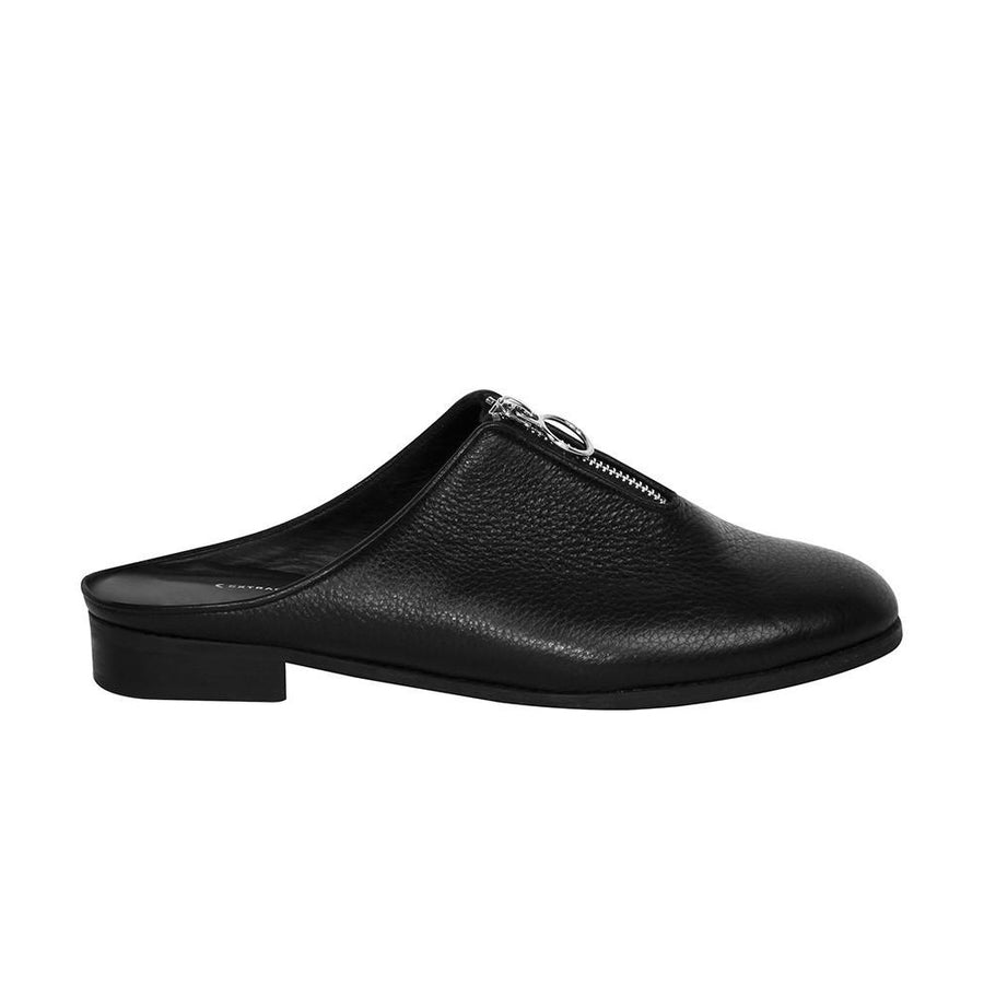 Women's Designer Slide Shoes - Urban Slider Black Slip-on - Side