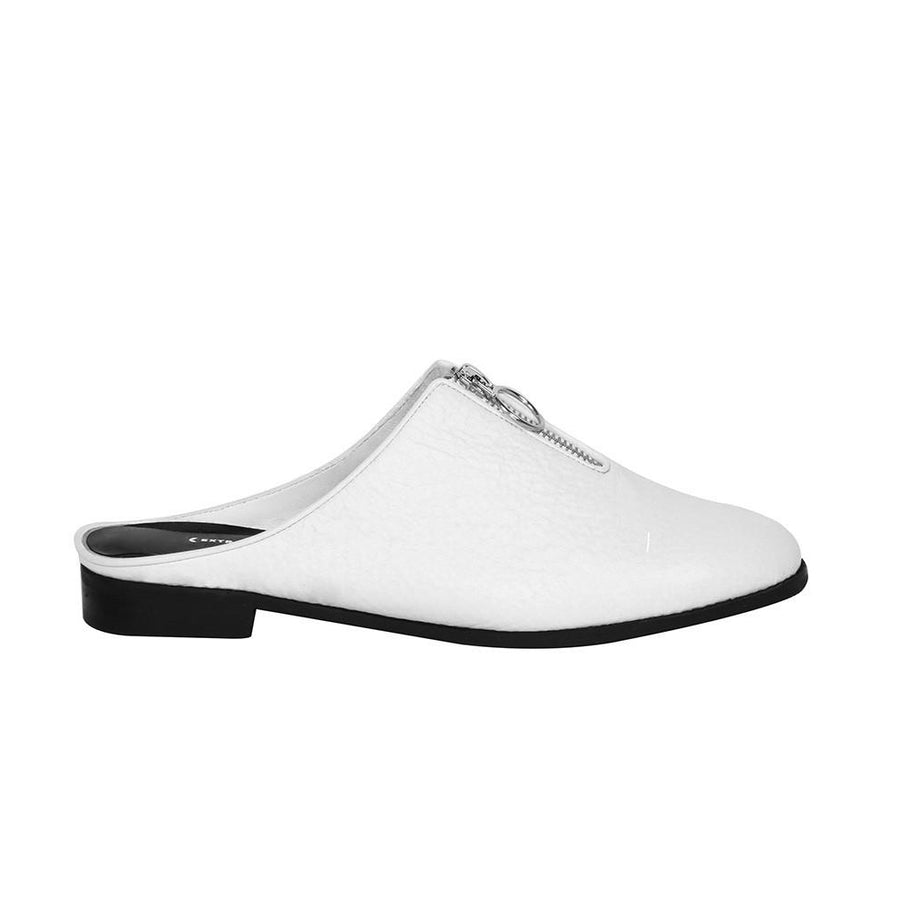 Women's Designer Slide Shoes - Urban Slider White Slip-on - Side
