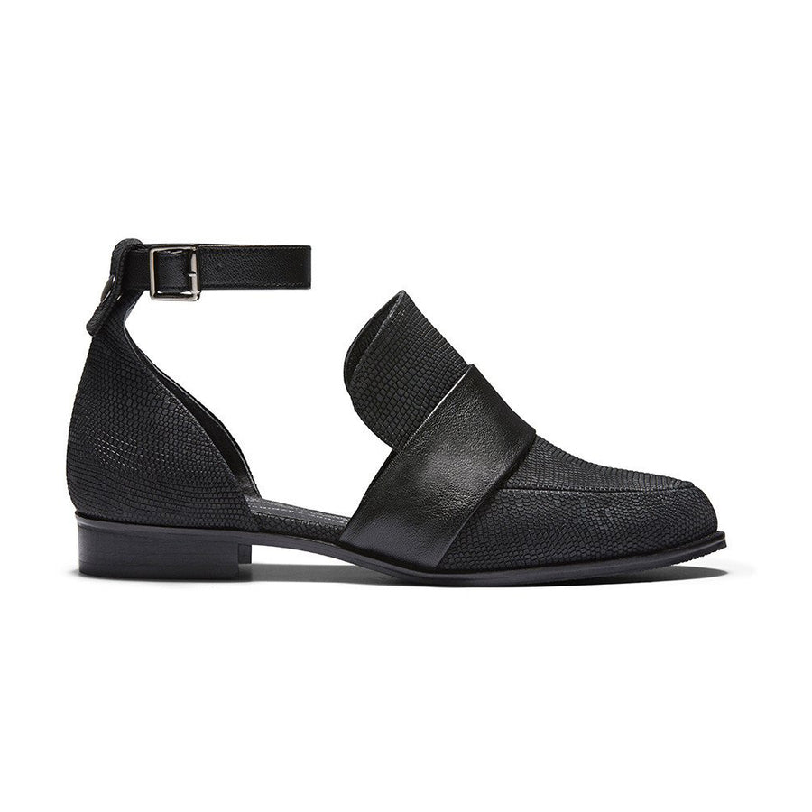 VENUS Embossed Leather Ankle Strap d'Orsay Flats - Black - Extraordinary Ordinary Day