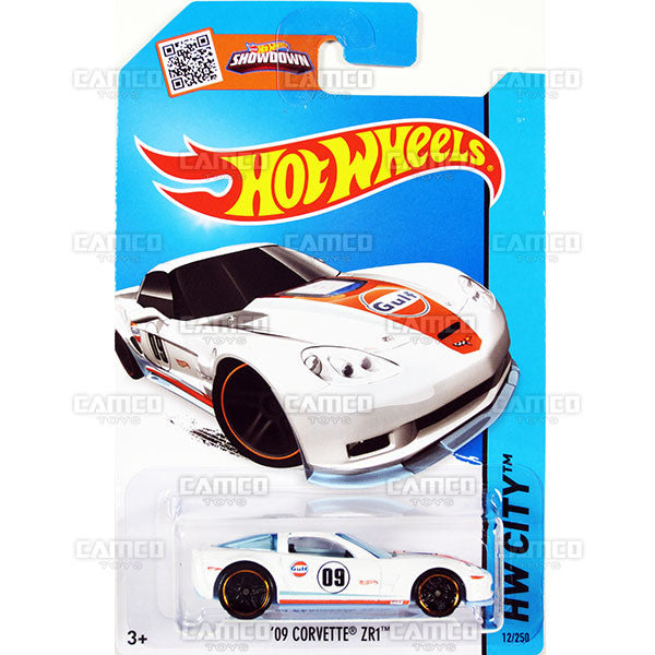09 Corvette ZR1 #12 white Gulf (HW City) - 2015 Hot Wheels Basic Mainline C4982