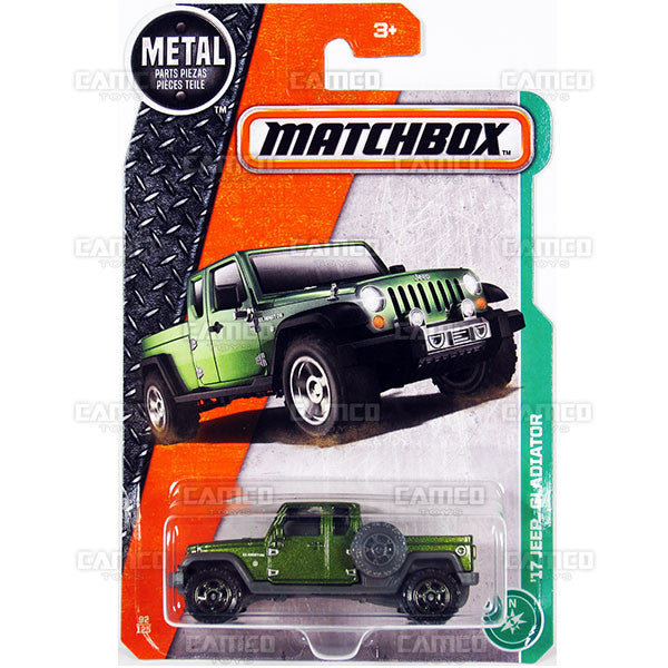 17 Jeep Gladiator #92 green - from 2017 Matchbox Basic J Case Assortment 30782 by Mattel.