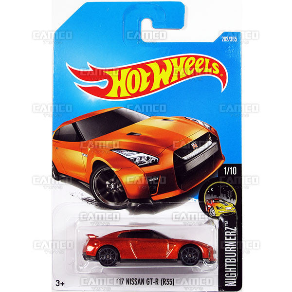17 Nissan GT-R (R35) #282 orange Nightburnerz - 2017 Hot Wheels Basic Mainline N Case C4982 by Mattel
