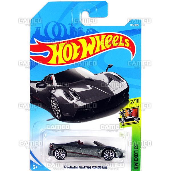 17 Pagani Huayra Roadster #119 grey - 2018 Hot Wheels Basic Mainline E Case Assortment C4982 by Mattel.