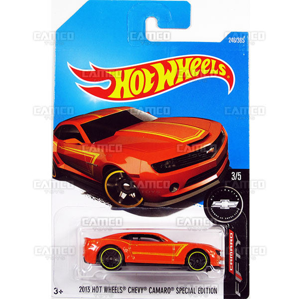 2013 Hot Wheels Chevy Camaro Special Edition #246 orange (Camaro Fifty) - 2017 Hot Wheels Basic Mainline L Case - C4982