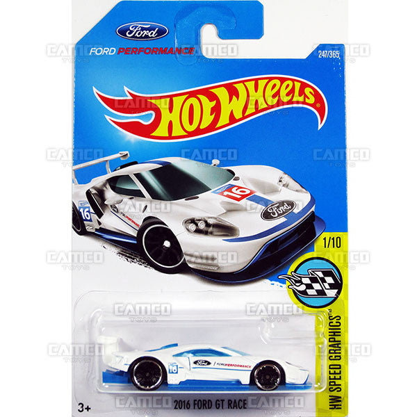 2016 Ford GT Race #247 white (HW Speed Graphics) - 2017 Hot Wheels Basic Mainline L Case - C4982