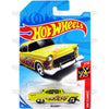 55 CHEVY #12 yellow (HW Flames) - 2018 Hot Wheels Basic Mainline A Case Assortment C4982 by Mattel.