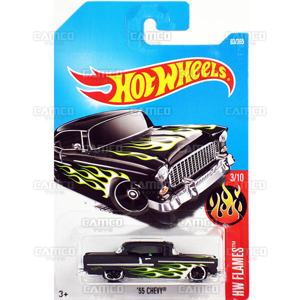 55 Chevy #83 black (HW Flames) - from 2017 Hot Wheels basic mainline D case Worldwide assortment C4982 by Mattel.