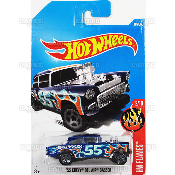 55 Chevy Bel Air Gasser 109 Blue 2017 Hot Wheels Basic E Case