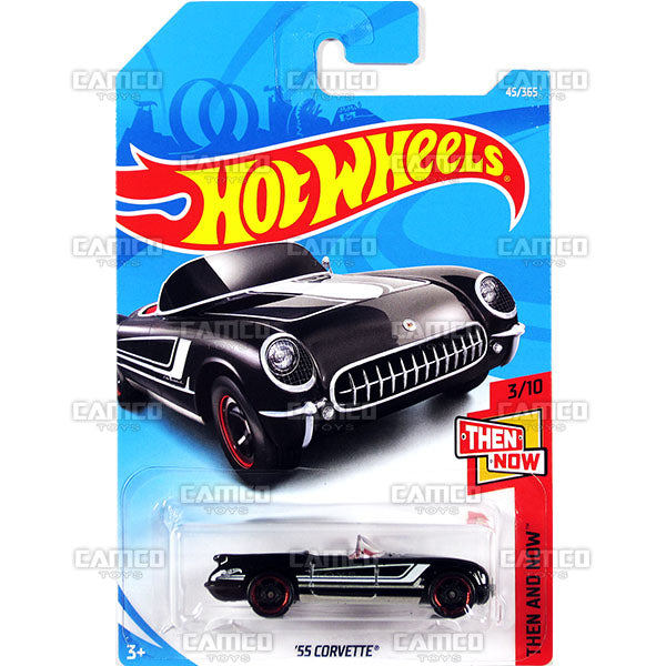 55 Corvette #45 black (Then and Now) - 2018 Hot Wheels Basic Mainline B Case Assortment C4982 by Mattel.