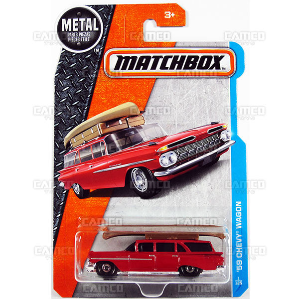 59 Chevy Wagon #1 red - from 2017 Matchbox Basic A Case Assortment 30782 by Mattel.