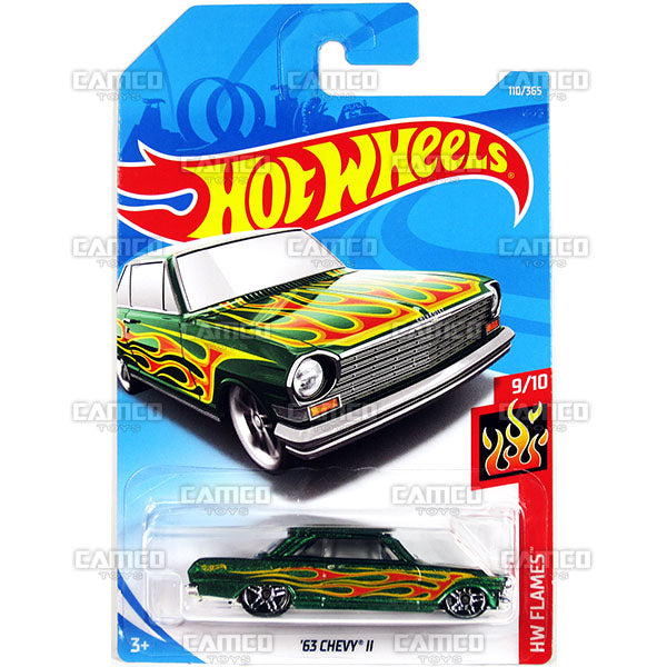 63 Chevy II #110 green - 2018 Hot Wheels Basic Mainline E Case Assortment C4982 by Mattel.