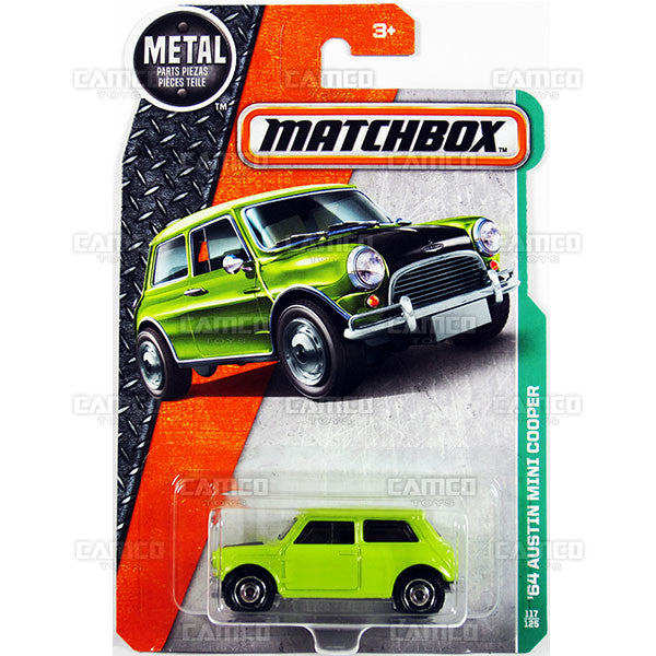 64 Austin Mini Cooper #117 Mr. Bean - from 2017 Matchbox Basic A Case Assortment 30782 by Mattel.