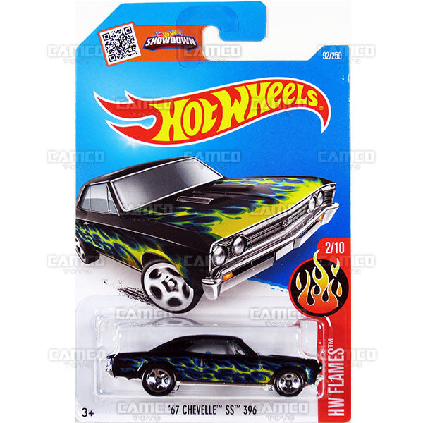67 Chevelle SS 396 #92 black (HW Flames) - from 2016 Hot Wheels Basic Case Worldwide Assortment C4982 by Mattel.