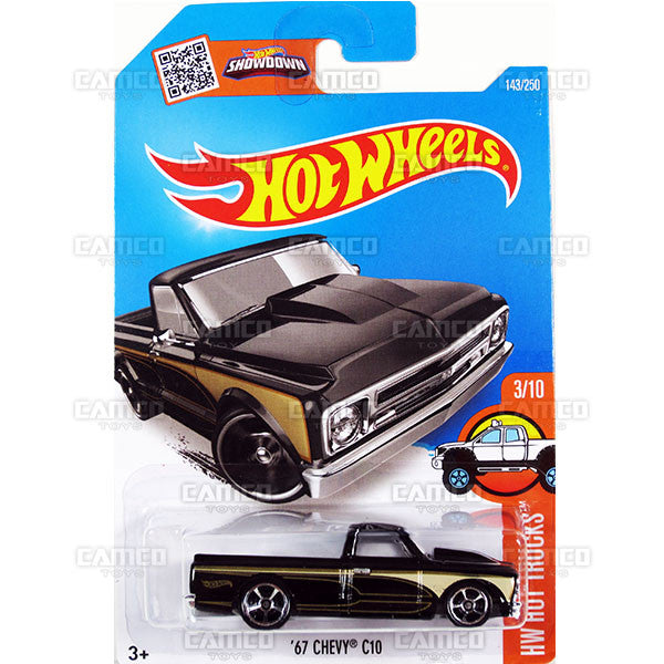 67 Chevy C10 #143 black (HW Hot Trucks) - from 2016 Hot Wheels Basic Case Worldwide Assortment C4982 by Mattel.