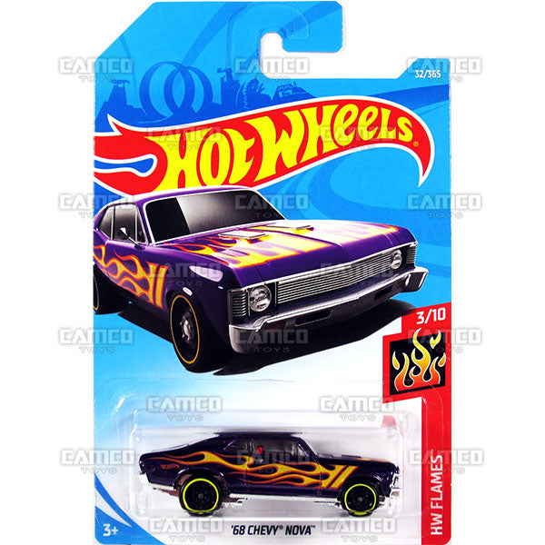 68 Chevy Nova #32 purple (HW Flames) - 2018 Hot Wheels Basic Mainline B Case Assortment C4982 by Mattel.