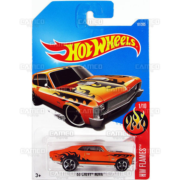 68 Chevy Nova #61 orange (HW Flames) - from 2017 Hot Wheels basic mainline C case Worldwide assortment C4982 by Mattel.