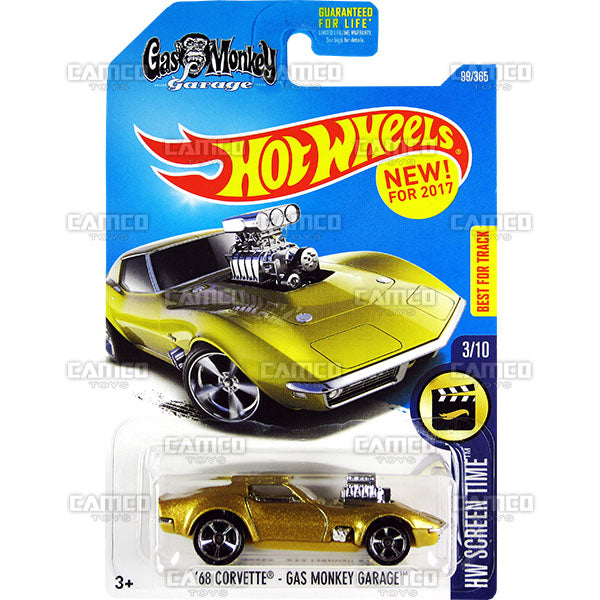 68 Corvette - Gas Monkey Garage #99 gold (HW Screen Time) - from 2017 Hot Wheels basic mainline assortment by Mattel.