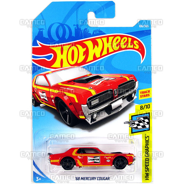68 Mercury Cougar #106 red Champion - 2018 Hot Wheels Basic Mainline E Case Assortment C4982 by Mattel.