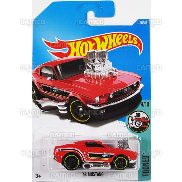 68 Mustang #27 red (Tooned) - from 2017 Hot Wheels basic mainline B case Worldwide assortment C4982 by Mattel.