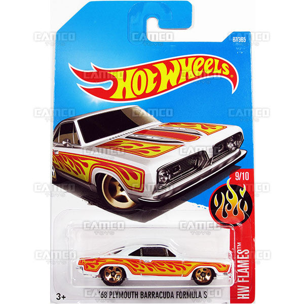 68 Plymouth Barracuda Formula S #87 white (HW Flames) - from 2017 Hot Wheels basic mainline D case Worldwide assortment C4982 by Mattel.