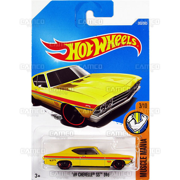 69 Chevelle SS 396 #263 yellow (Muscle Mania) - 2017 Hot Wheels Basic Mainline L Case - C4982