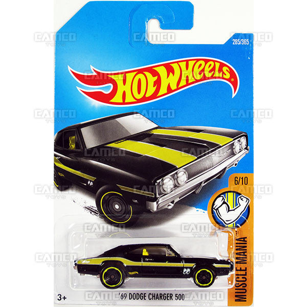 69 Dodge Charger 500 #285 black MoonEyes (Muscle Mania) - 2017 Hot Wheels Basic Mainline M Case - C4982