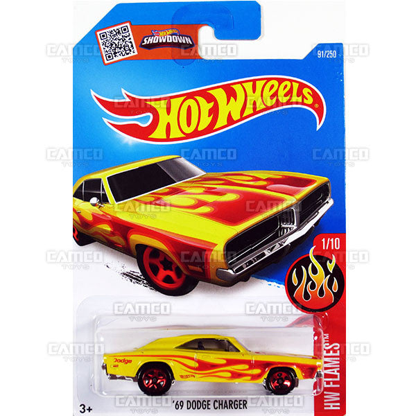 69 Dodge Charger #91 yellow (HW Flames) - from 2016 Hot Wheels Basic Case Worldwide Assortment C4982 by Mattel.