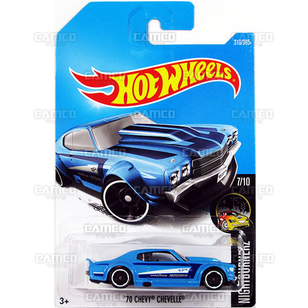 70 Chevy Chevelle #310 blue Nightburnerz - 2017 Hot Wheels Basic Mainline N Case C4982 by Mattel
