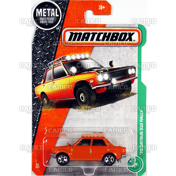 70 DATSUN 510 RALLY #94 orange - 2017 Matchbox Basic L Case Assortment 30782 by Mattel.