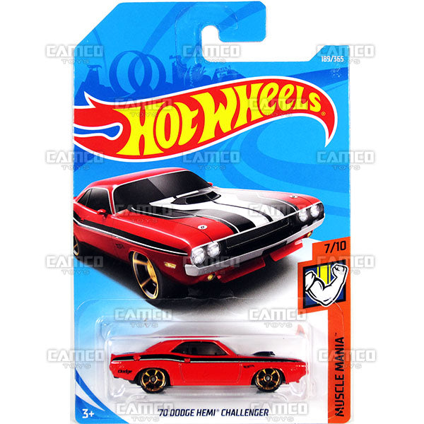 70 Dodge Hemi Challenger #189 red - 2018 Hot Wheels Basic Mainline H Case Assortment C4982 by Mattel.