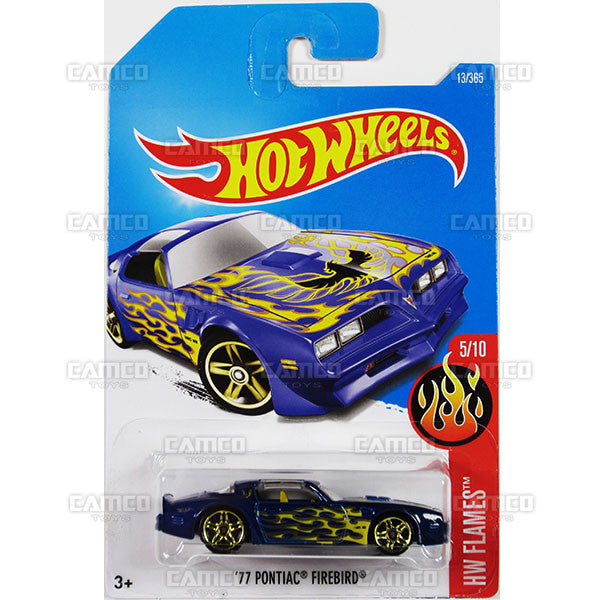 77 Pontiac Firebird #13 Blue (HW Flames) - from 2017 Hot Wheels basic mainline A case Worldwide assortment C4982 by Mattel.