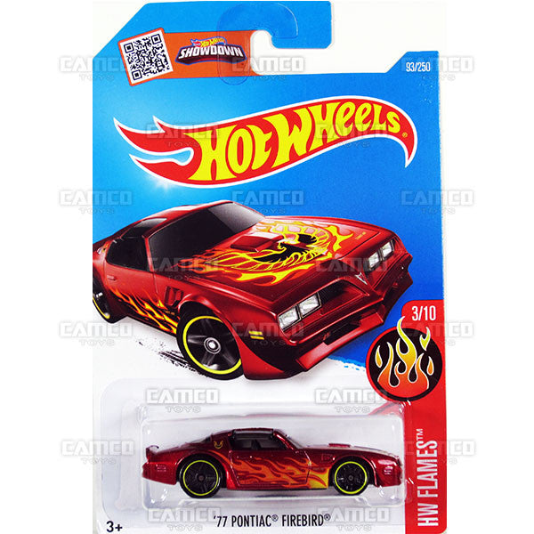 77 Pontiac Firebird #93 Red (HW Flames) - from 2016 Hot Wheels Basic Case Worldwide Assortment C4982 by Mattel.