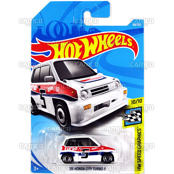 85 Honda City Turbo II #68 white (HW Speed Graphics) - 2018 Hot Wheels Basic Mainline C Case Assortment C4982 by Mattel.