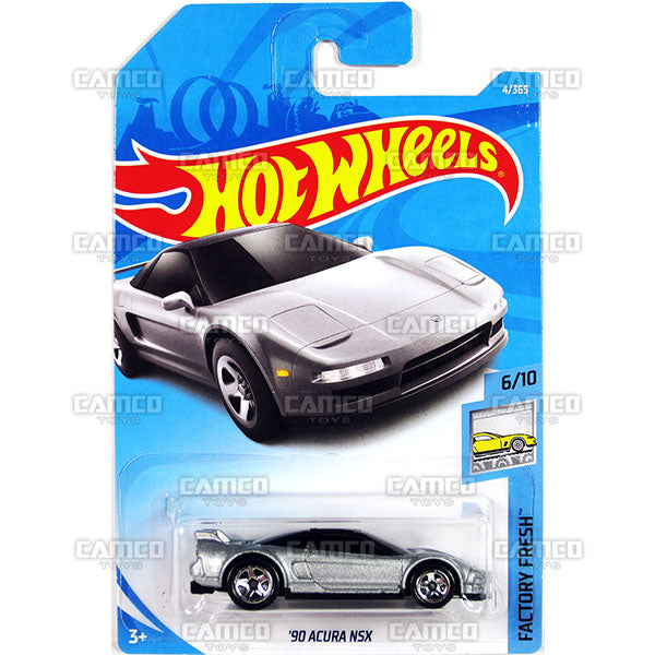 90 ACURA NSX #4 silver (Factory Fresh) - 2018 Hot Wheels Basic Mainline A Case Assortment C4982 by Mattel.