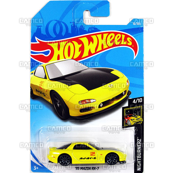 95 MAZDA RX-7 #16 yellow (NightBurnerz) - 2018 Hot Wheels Basic Mainline A Case Assortment C4982 by Mattel.