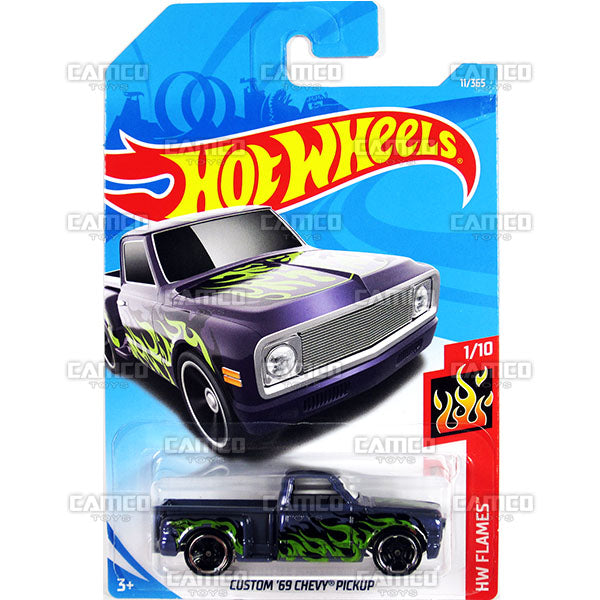 CUSTOM 69 CHEVY PICKUP #11 purple (HW Flames) - 2018 Hot Wheels Basic Mainline A Case Assortment C4982 by Mattel.
